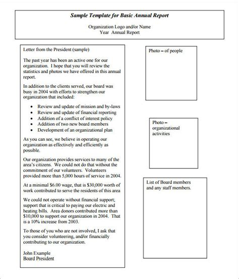 non profit monthly financial report template annual report template 16 documents in pdf