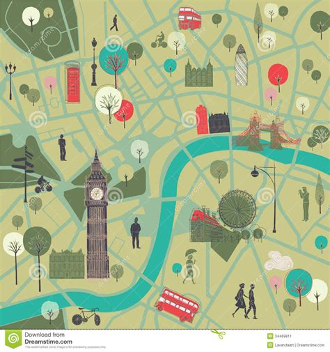 river thames attractions map map of london with landmarks stock illustration