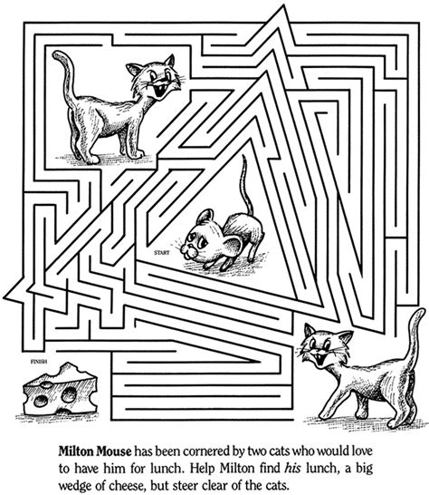 printable cat maze color it cat and mouse maze coloring pages pinterest