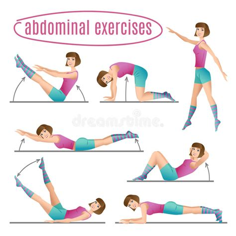 set of exercises doing abdominal exercises stock vector illustration of