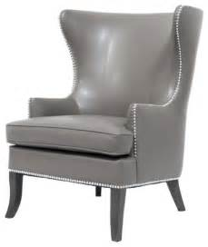 tmd grey leather wing back chair