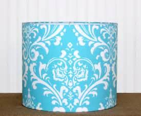 turquoise damask drum lshade