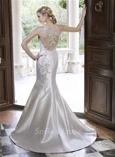 sheer beaded back wedding dress mermaid illusion neckline sheer back tulle satin beaded