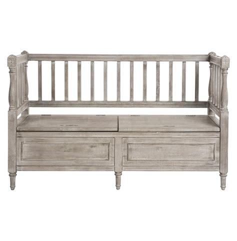 sofa bench with storage damita french country weathered grey storage bench sofa