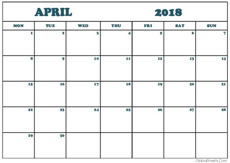 april monthly calendar printable