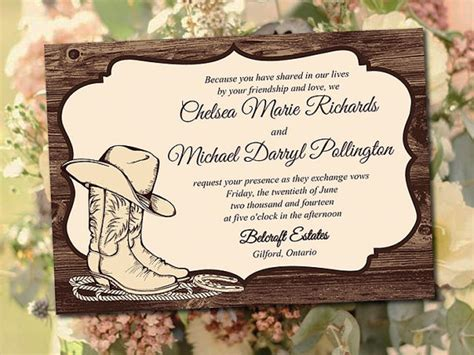 printable wedding invitation template quot country western