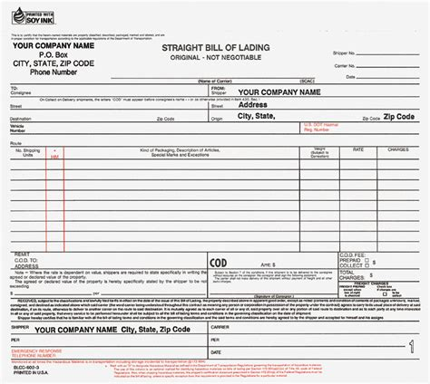 10 best images of bill of lading forms printable
