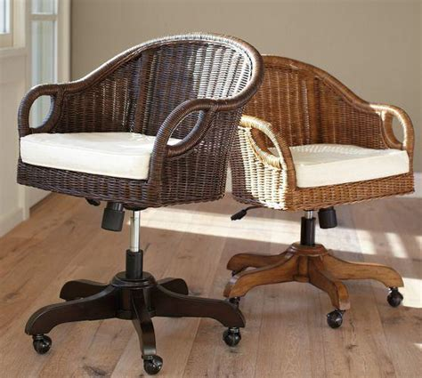 wingate rattan swivel desk chair from pottery barn home