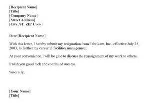 Format For A Letter Of Resignation by Resignation Letter Template Exle Images