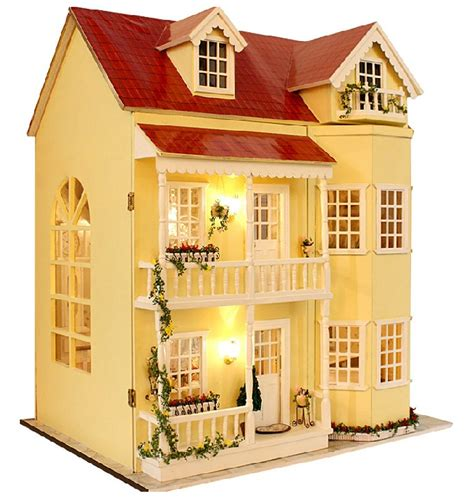 model doll houses diy wood house big dollhouse 3d home cute furniture