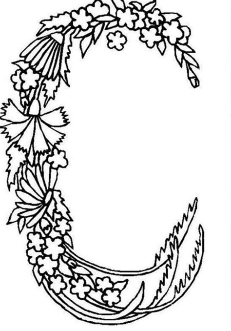 Letter C Coloring Pages For Adults by Alphabet Flowers Alphabet Flowers Letter C Coloring