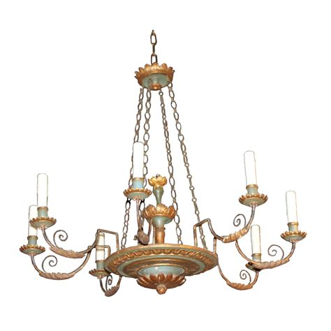 Painted Chandeliers Contemporary Italian Painted Wood 8 Light Chandelier