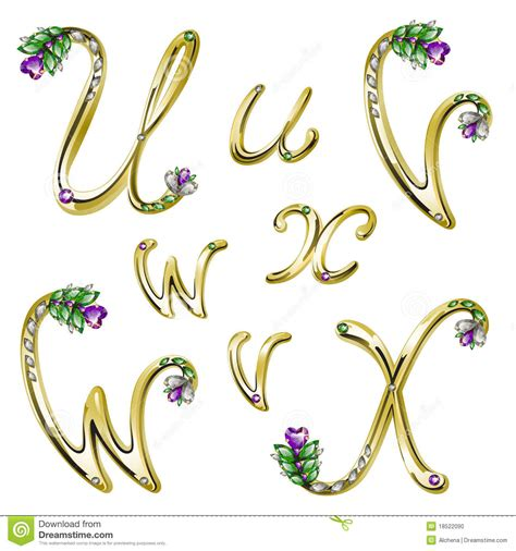 lettere particolari vector gold alphabet with gems letters u v w x stock