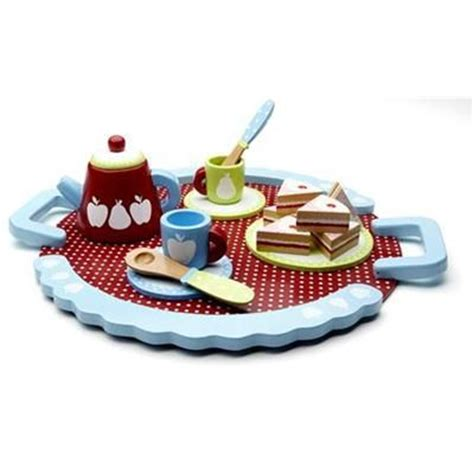 wooden tea party set with cake kmart $12   gift ideas for
