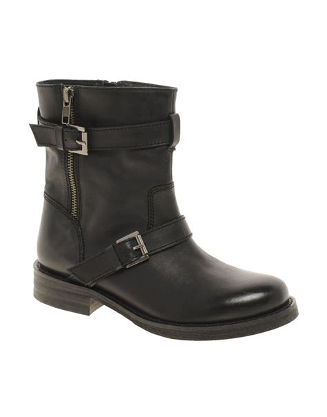 biker boots shoeniverse fnba asos black asos america leather biker