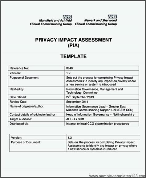 privacy impact assessment template privacy impact assessment template sle templates