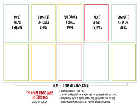 printable sorry instructions free printable chore game paging supermom