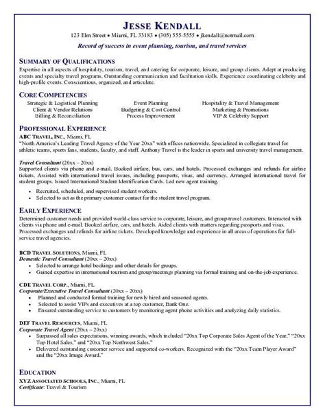 Travel Sle Resume by Travel Resume