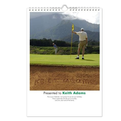 Personalised Calendar Discount Golf Gifts Personalised Calendar Find Me A Gift