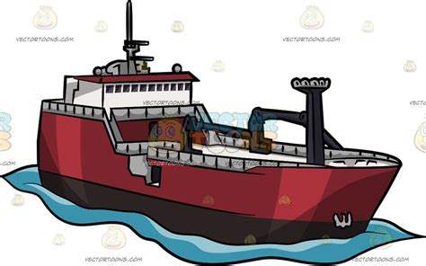 cartoon trawler boat large fishing trawler cartoon clipart vector toons