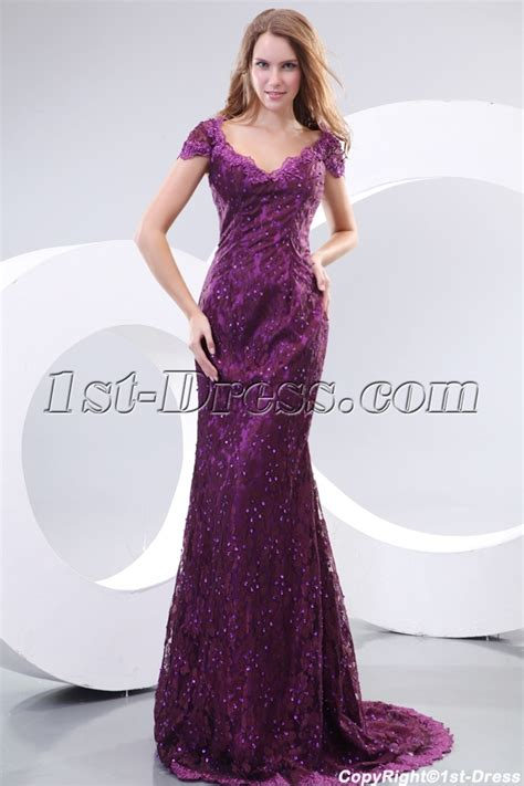 Pretty Purple Cap Sleeves Lace Evening Dresses for Mature