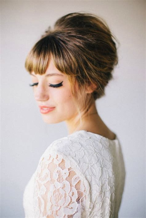 Wedding Hair Bangs Updo by Bridal Bangs Side Swept Blunt And Middle Fringes