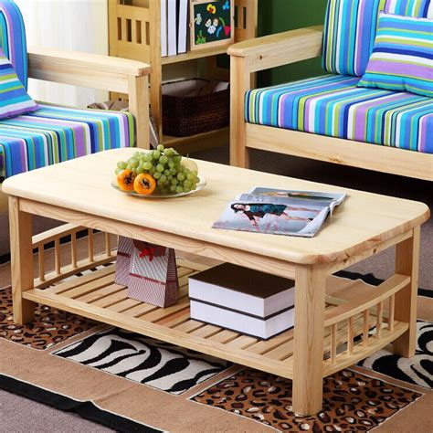 Designer Table Ls Living Room Aliexpress Buy Pine Wood Modern Center Table With Shelf Storange Living Room