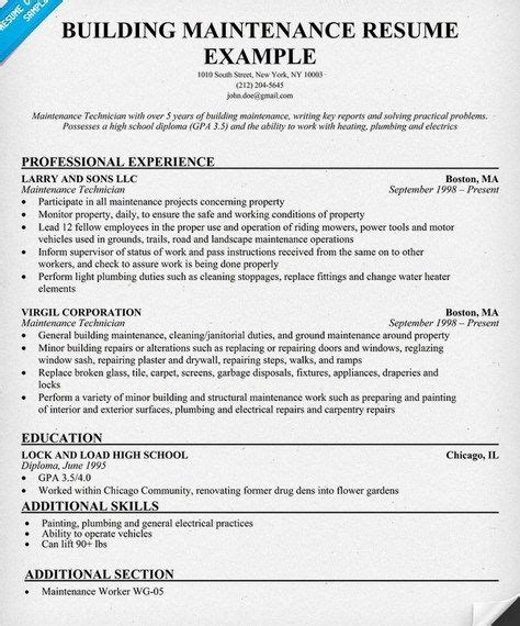 building maintenance resume sle http