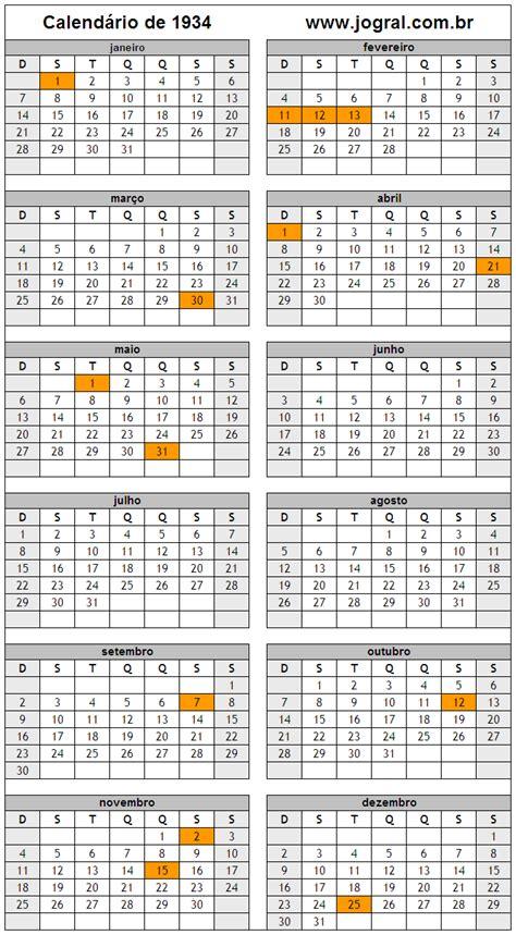 Calendario 2019 Pascoa Calend 225 Ano 1934 Para Imprimir Em Formato Pdf E Imagem