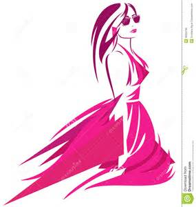 Fashion woman in bright pink dress modern art vector design