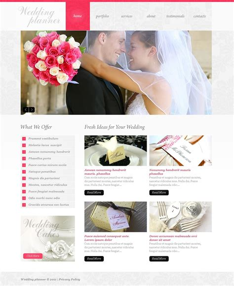 wedding planner website template wedding planner psd template 37054