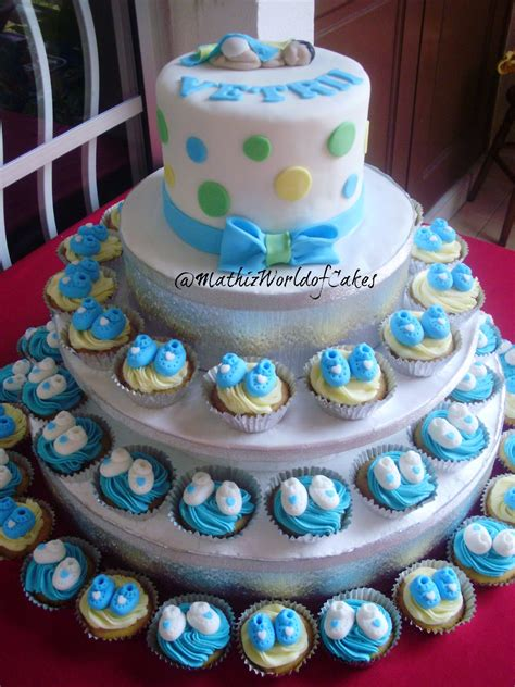 Cupcake Cakes For Baby Shower by Mathiz Baby Shower Cake And Cupcake Tower