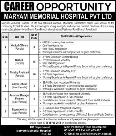 maryam memorial hospital pvt ltd jobs 2018 download