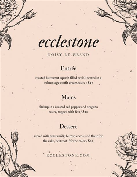 design menu vintage antique white floral illustration vintage menu templates
