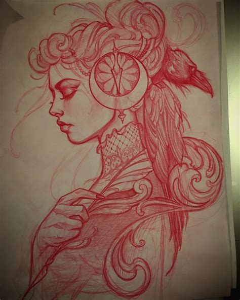 tattoo girl sketch sketch for todays tattoo a writer and a raveninsta