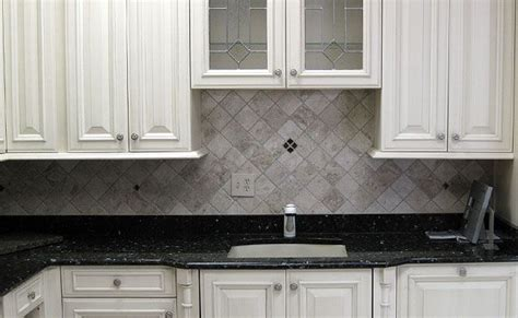 backsplash ideas for blue pearl granite diamond pattern