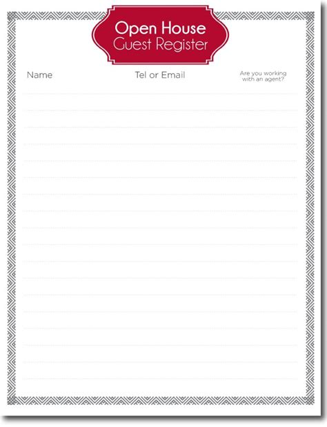 open house guest registration form template open house guest registration form template 28 images