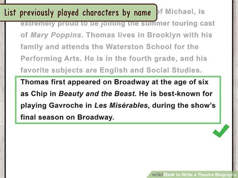 roleplay biography ideas how to write a theatre biography with sle bios wikihow