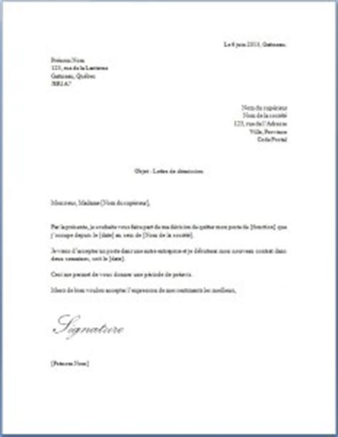 lettre de demission avec preavis application letter
