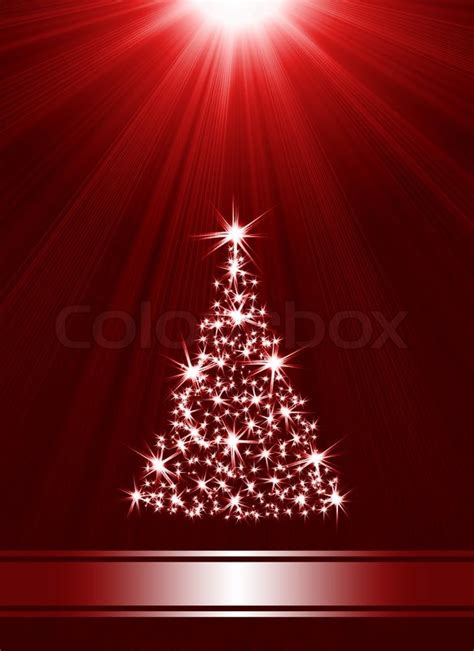 christmas tree   stars  red background  place  text stock photo colourbox