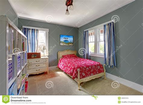kids red bedroom kids bedroom with red bed and grey walls royalty free