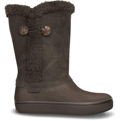 croc boots crocs modessa suede button boot espresso espresso buffed