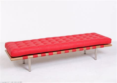 3 chair bench barcelona 3 seat bench red leather mies van der rohe