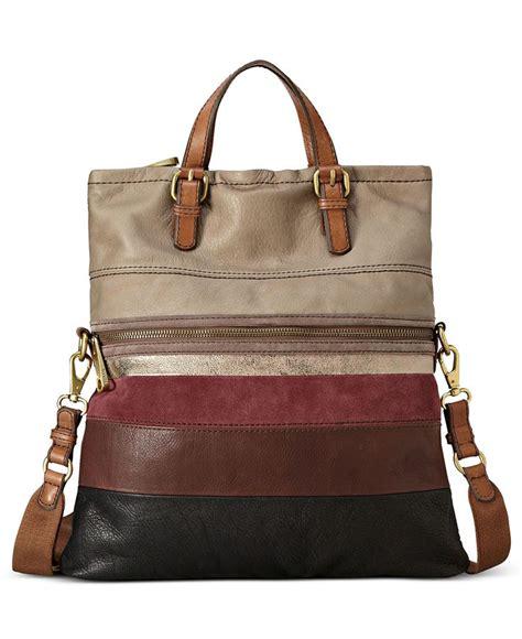 Fossil Evan Backpack Neutral Multi Brown Tas Backpack Fossil Original fossil handbag explorer stripe leather tote fossil handbags accessories macy s my
