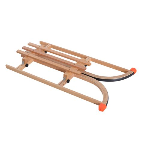 qaba children s solid wooden sled winter sports aosom ca