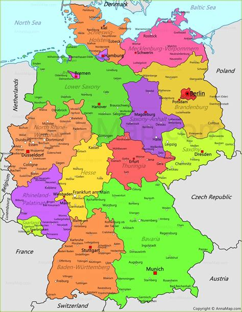 map of germany germany map germany political map annamap