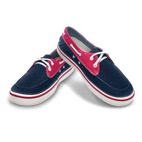 crocs hover boat shoe navy white canvas lace up boat