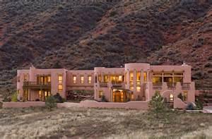 Santa fe style homes in exterior southwestern with desert scrub