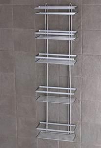 Satina chrome 5 tier large shower caddy shelf bathroom