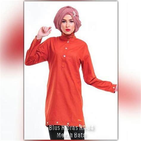 Baju Atasan Blouse Muslimah Kaos Alnita Aa 10 Salem Tua nibras na 04 warna merah bata bahan katun twill ukuran